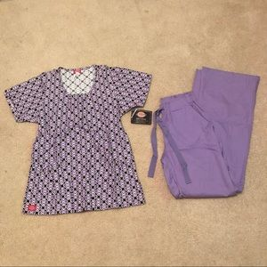 NEW PURPLE DICKIES SM SCRUB SET (TOP&PANT)